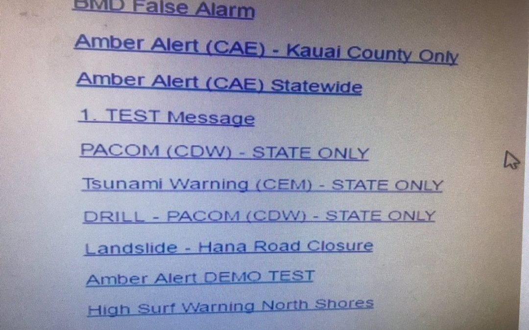 Screenshot vom Computer mit dem der Atomraketenalarm auf Hawaii ausgelöst wurde